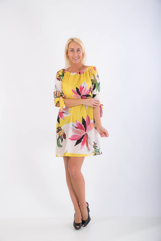 8e5d07edb39b Žlté vzorované šaty  tunika